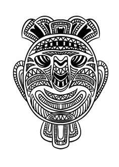 """coloring page coloring-adult-african-mask-1. Coloring picture of an African mask - 1