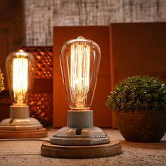 Kiven Vintage Retro Table Lamp Dimmable with Ceramic Wooden Base Bedroom Bedside Lamp Edison Reading Desk Light Abajur Lighting Retro Table Lamps, Table Lamp Wood, Desk Lamp, Wall Lamps, Bedside Lamp, Table Desk, Lampe Retro, Retro Lamp, Vintage Loft