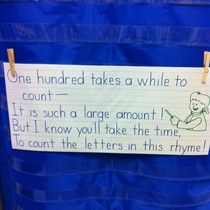 100th day poem: read it first with the students then count each letter in the poem=100!!