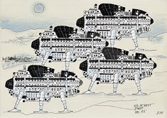 Archigram Group - Walking City: Proposal for a nomadic city infrastructure in which urban utilities would not be tied to a specific location.