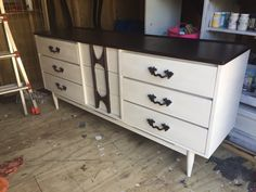 Refinished white dresser with black cherry top