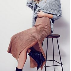 Free People Maxi Skirt High-waisted sweater skirt with a ribbed pencil silhouette and high side slits. Free People Skirts Maxi