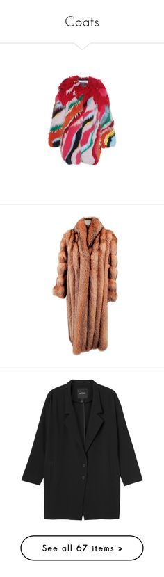 """""""Coats"""" by justine-verlinden ❤ liked on Polyvore featuring outerwear, coats, jackets, fur, roberto cavalli, fox fur coat, stripe coat, colorful coat, red fur coat and multi colored coat"""