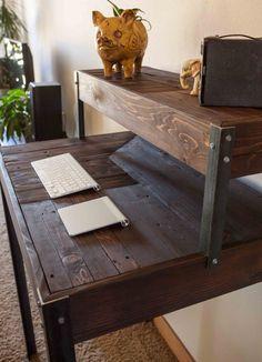 Repurposed Pallet Wood Desk Tiered with Metal Legs by kensimms