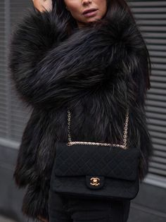 faux fur and a quilted shoulder bag
