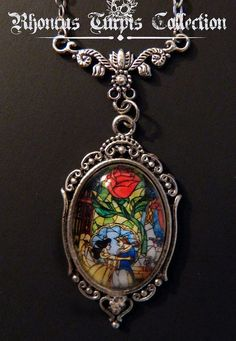 Disney Beauty & the Beast Stained Glass Cameo Cabochon Necklace on Etsy, $18.00: