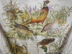 Gucci Silk Scarf 1970's Ducks & Pheasant 100% by Libbysmomsvintage