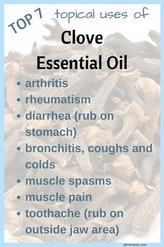 The benefits and uses of Clove Essential Oil. Read to find out the top 7 ways to use Clove Essential Oil in your household. Clove Essential Oil, Essential Oil Uses, Doterra Essential Oils, Young Living Oils, Young Living Essential Oils, Arthritis And Rheumatism, Oil Benefits, Cloves Benefits, Healing Oils