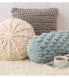Cozy Crochet Pillows - I can't crochet, but I could up cycle some old sweaters.