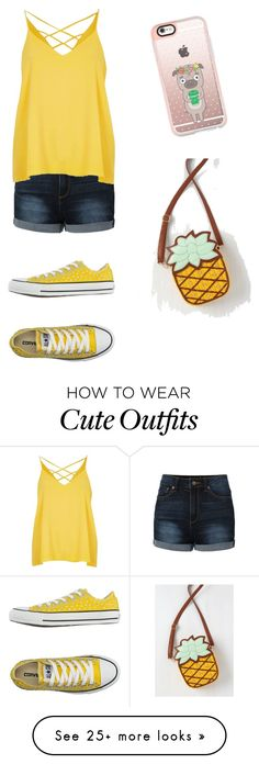 """To my bestie, dumbdonuts, her summer outfit"" by obie-one on Polyvore featuring LE3NO, Converse, River Island and Casetify"