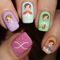 Cute dolly nail art water decals.