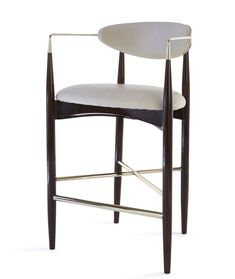 Leto Bar Stool Contemporary, Transitional, MidCentury Modern, Upholstery Fabric, Lacquer, Armchair by Kimberly Denman