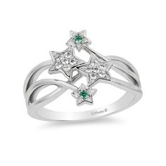 Enchanted Disney Tinker Bell Tourmaline and CT. Diamond Star Ring in Sterling Silver - Size 7 - View All Rings - Zales Disney Princess Engagement Rings, Engagement Rings 4 Carat, Engagement Ring Settings, Princess Rings, Sea Glass Jewelry, Silver Jewelry, Star Jewelry, Diamond Jewelry, Silver Bracelets