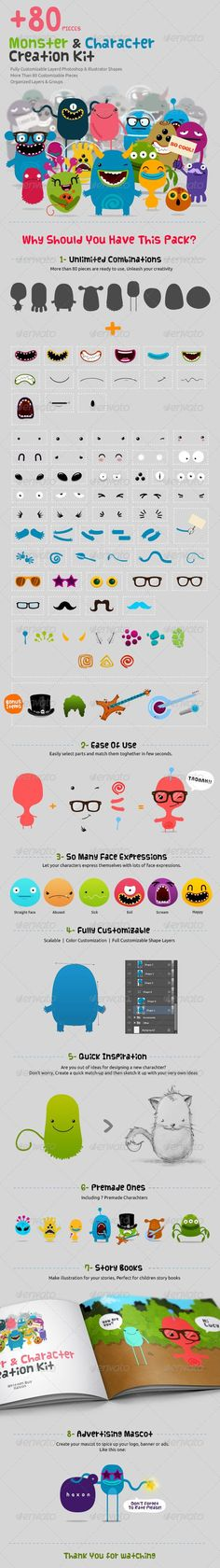Lucky 07 Funny Vector Monster Character Creation Kits