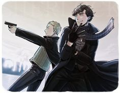 Fanart- is it just me, or does this look like a Fullmetal Alchemist crossover? John is Riza (quite accurate) and Sherlock is Roy. Sherlock Fandom, Sherlock John, Sherlock Holmes Benedict, Benedict Cumberbatch, Sherlock Anime, Watson Sherlock, Johnlock, Doctor Who, Yuri