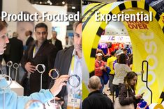 Are trade show booths focused on displaying products (pictured at International C.E.S., left) better than ones with hands-on components, such as the oversize hamster wheel Adidas offered at a recent expo (pictured, right)? Photo: CES (Product Display), Courtesy of Sparks (Adidas)