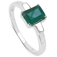1.00 Carat Genuine Emerald Sterling Silver Ring - Fashion Jewelry