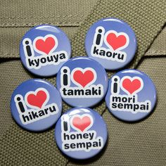 Ouran high school host club buttons. I would end up wearing all of them! I love ALL of the hosts!