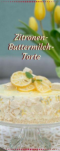 Erfrischende Zitronenbuttermilchtorte mit Zitronenkeksboden. Einfach nur lecker und ganz einfach umgesetzt. Wie immer ist das Tortenrezept sehr ausführlich #yummy #torten #backen