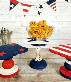 Ideal for displaying your 4th July desserts and nibbles, these DIY cake stands will be your celebration show stopper. Follow Deco Art's upcycling tutorial and give old stands a new lease of life.