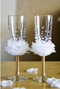 DIY Flower Bead Decorated Wine Glasses - The Idea King