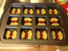 Love this idea! Individual Pineapple Upside Down cakes in the Brownie Pan!