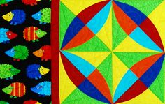 """""""Circle Burst"""" block from C&T Publishing's book """"Flip & Fuse Quilts"""" by Marcia Harmening of Happy Stash Quilts"""