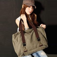 Sale 27% (21.99$) - Fashion Handbags Canvas Double Zipper Tote Bag Large Shoulder Bag