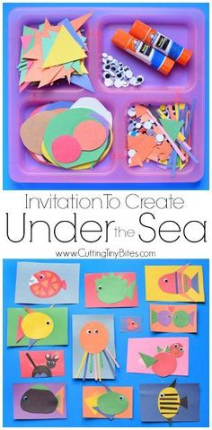 Free art activities for kids. Invitation To Create- Under The Sea. Great fine motor ocean craft for preschool, kindergarten, or elementary kids. Open-ended project allows for creativity- kids can make fish, octopus, or other sea creatures! Toddler Crafts, Preschool Crafts, Toddler Activities, Kids Crafts, Preschool Ocean Activities, Sea Creature Crafts For Kids Preschool, Preschool Ideas, Beach Theme Preschool, Beach Crafts For Kids