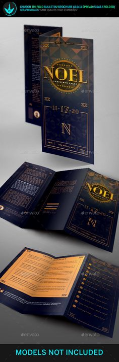 Noel #Christmas Gala #Tri-Fold  Program Template - Informational #Brochures