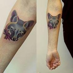 A beautiful gray fox:   The 26 Coolest Animal Tattoos From Russian Artist Sasha Unisex