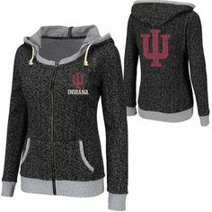 Indiana Hoosiers Ladies Slope Full Zip Hoodie - Charcoal