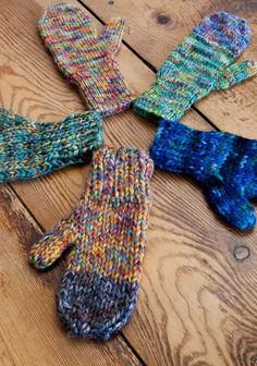 Woodhaven - seamless mitten patterns can knit in 3 different weights. use one shade or colorblock