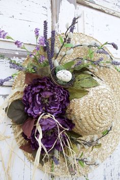 Straw Hat Wreath, Mothers Day Wreath, Purple Wreath, Romantic Wreath, Spring Wreath, Summer Wreath, Mothers Day Gift This is a pretty romantic straw hat wreath thats sure to compliment any Spring or Summer decor. -Brim of hat measures 18 inches around, approximately 20 inches