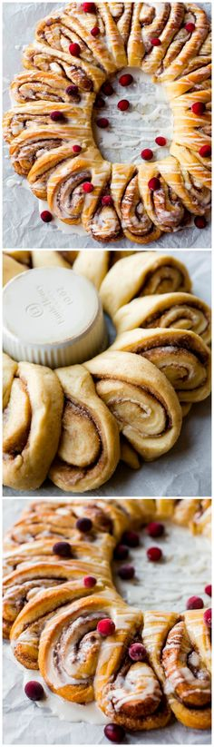 Learn how to make a warm and fluffy, ooey gooey cinnamon roll wreath! Recipe on sallysbakingaddiction.com