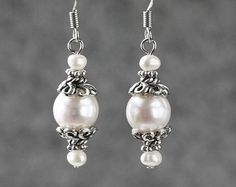 Pearl drop earrings Bridesmaids gifts Free US Shipping handmade Anni Designs