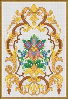 Berlin Woolwork Antique Floral Motif by MyTreasureIsland on Etsy Vintage Cross Stitches, Counted Cross Stitch Patterns, Cross Stitch Charts, Cross Stitch Embroidery, Large Tapestries, Mini Cross Stitch, Peyote Patterns, Loom Beading, Colorful Pictures