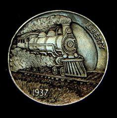 """""""Full Steam"""" Hobo Nickel carved by Howard Thomas"""