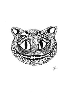 Pen & Ink drawing of Cheshire Cat by SomeCatchyName on Etsy