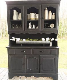rustandrelics | Furniture-Repurposed Black China Hutch $250 from Rust & Relics LLC. Get Industrial Farmhouse Furniture, Decor, Accessories and MORE for CHEAP from Rust & Relics LLC. Farmhouse Clock, Farmhouse Kitchen, Farmhouse Decor, Interior Design, Home Staging, Store, E-design, Wedding Rentals and MORE!! Your NEW favorite site for all things Farmhouse, Rustic, Modern and Industrial.
