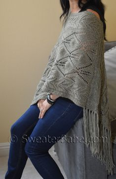 Asymmetrical Lace Knit Fringed Poncho knitting pattern. Coming soon! SweaterBabe Knitting Pattern
