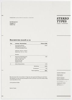 Stereotypes invoice design.