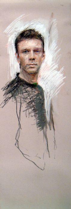 """Pastel Marvels: Ben Henriques, """"Self Portrait,"""" pastel, 50 x 16 in"""