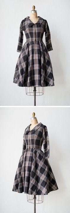 vintage 1950s wool black tan plaid school dress | Academic Term Dress