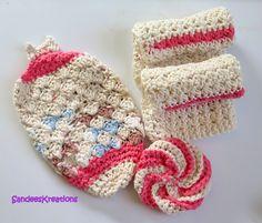 Crochet Spa Set, Bath Set, Cotton Washcloths, Cotton Dish Rags,Kitchen Dish Cloths by SandeesKreations on Etsy