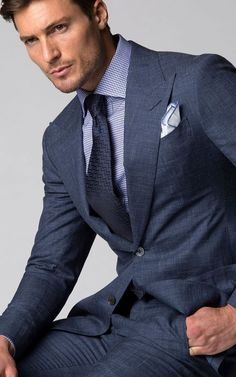 Red coat over navy blue pinstripe suit. Mens Fashion Blog, Mens Fashion Suits, Mens Suits Style, Navy Blue Pinstripe Suit, Navy Suits, Navy Suit Blue Shirt, Light Navy Suit, Light Blue, Groom Suits