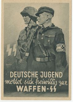 "German recruitment poster  Waffen-SS Poster. In the public domain. I hardly know any German, but I do know that ""Deutsche Jugend"" means ""German Youth."""