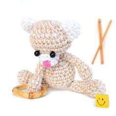 Eco-friendly -Teddy bear - Crochet Amigurumi bear - Crochet bear - bear Doll - Crochet bear - Amigurumi Animal - Crochet Animal - Soft toy  - The bear is crocheted with hypoallergenic cotton yarn and filled with hypoallergenic fiberfill which makes it perfect for children. It is about 5 cm/1.97 in/ in diam and about 18 cm/7 in/ tall  - Not suitable for children under three years old.  - CARE INSTRUCTIONS Hand wash only with mild detergent. Rinse thoroughly and squeeze dry.  - We love custom…