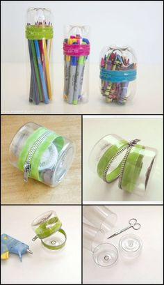 How To Make A Stationary Supply Storage From Recycled Plastic Bottle http://theownerbuildernetwork.co/pc91 This fun project comes together in no time with the help of a zipper and hot glue. Personalize the container with a fashionable zipper or use your favorite colored-plastic bottle for a chic look.: