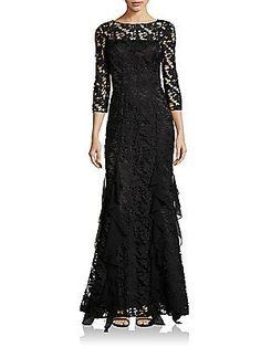 Kay Unger Floral Lace Gown